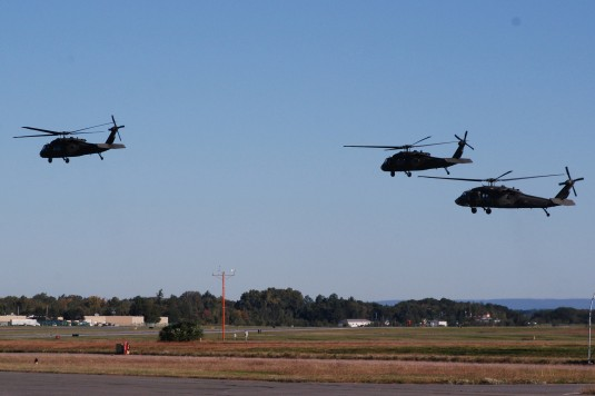 New York Army National Guard aircrews of the 3rd Battalion, 142nd Aviation depart here Sep. 25