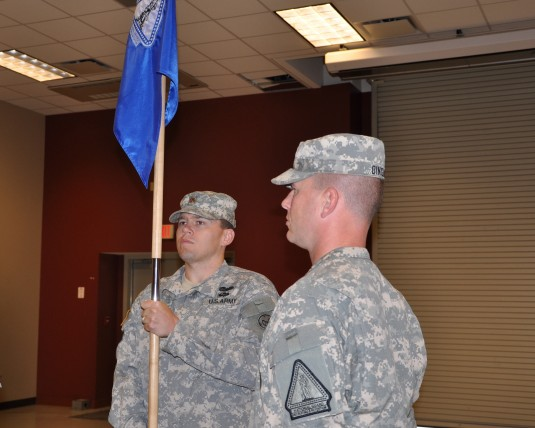 New York Army National Guard Major Nicholas Suhr, a Delmar resident, accepts the guidon of Company B of the New York Army National Guard Recruiting and Retention Battalion during Change-of-Command Ceremonies here on Tuesday, Oct. 1.