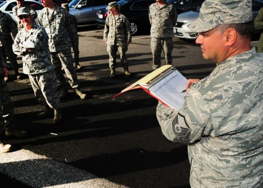 Master Sgt. Timothy Gemsheim 107th Force Support Squadron conducts accountability for the building members as members of the  New York Air National Guard's  107th Airlift Wing and the Air Force Reserve's 914th Airlift Wing joined more than 18 mill