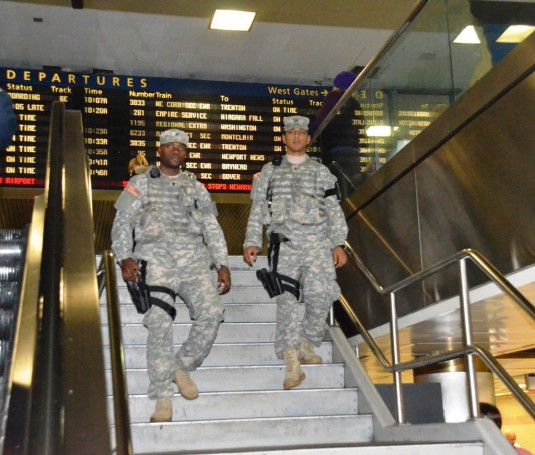 Service members assigned to Companies A and B of the New York National Guard Joint Task Force Empire Shield provide security patrols