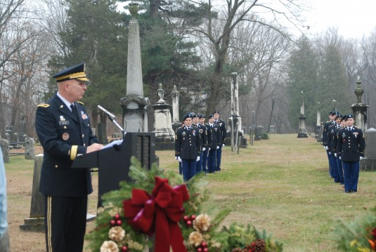 ew York Army National Guard Brig.General Raymond Shields speaks about President Martin Van Buren during  a ceremony honoring him on Dec. 5 2013 at the Dutch Reformed Cemetery here.