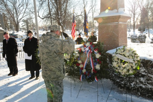 Col. John Higgins, commander of the New York Air National Guard's 107th Airlift Wing, placed a wreath on the grave of President Millar Fillmore on behalf of President Barack Obama at Forest Lawn Cemetery in Buffalo, N.Y., on Jan. 9, 2014.