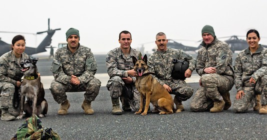 Soldiers of the New York Army National Guard's 3rd Battalion 142nd Aviation take a break with United States Air Force dog handlers during training here on Jan. 10.