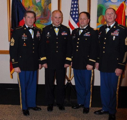 Members of the New York Army National Guard after receiving the Order of St. Maurice Medal Dec. 14.  From left: Sgt. Maj. Daniel Ames, 42nd Infantry Division, Brig. Gen. Raymond Shields, the Director of the Joint Staff for the New York National Guard, Lt.