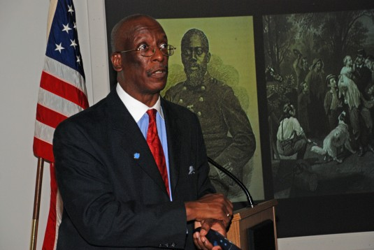 Historian Harry Bradshaw Matthews, Associated Dean of Hartwick College, speaks about the place of the Civil War-era United States Colored Troops in the African American struggle for freedom during a program on Saturday, Feb. 22, at the the New York State