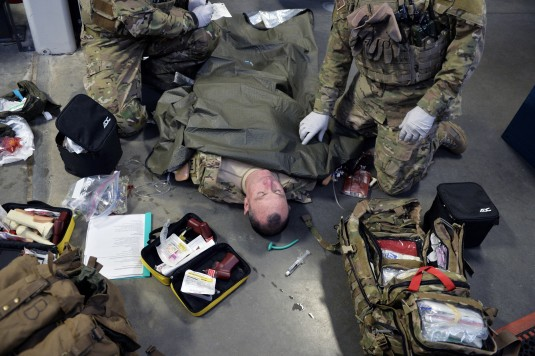 Pararescue Jumpers and Combat Rescue Officers from the 106th Rescue Wing's 103rd Rescue Squadron conduct emergency medical refresher training  on February 27th, 2014.