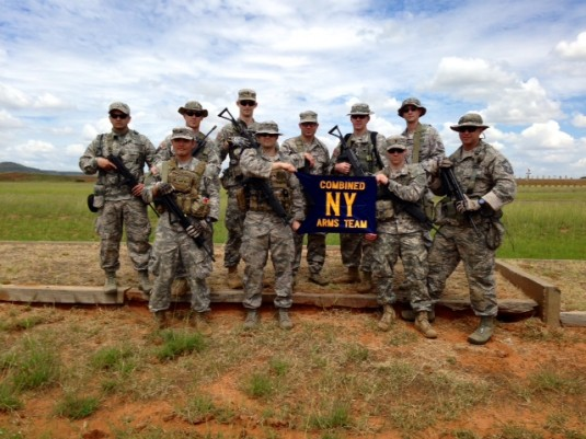Members of the joint New York Army and Air National Guard team participating in the South African Combat Rifle Competition here take time out to pose for a picture on Monday, March 10.