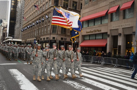 Soldiers of the New York Army National Guard's  1st Battalion 69th Infantry lead the St. Patrick's Day parade here for the 163rd time on Monday, March 17.