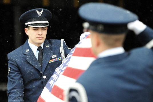 Members of the 106th Rescue Wing Honor Guard conducted training despite snowy weather at FS Gabreski Air National Guard Base  on March 31st, 2014.