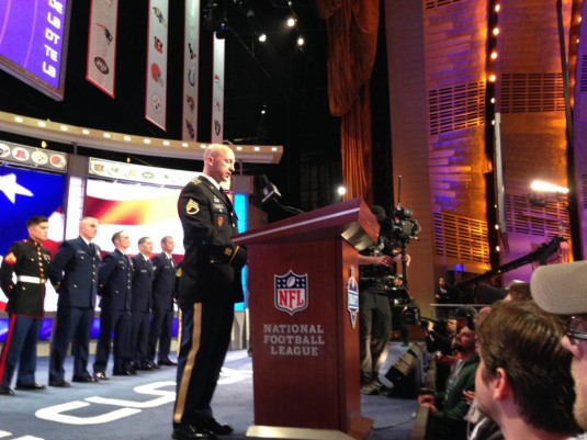 New York Army National Guard Staff Sgt. Jeff Dorvee announces that the the Oakland Raiders picked Mississippi State football player Gabe Jackson as the 81st draft pick in the 2014 National Football League Draft on Friday, May 9. Dorvee, a member of the 14