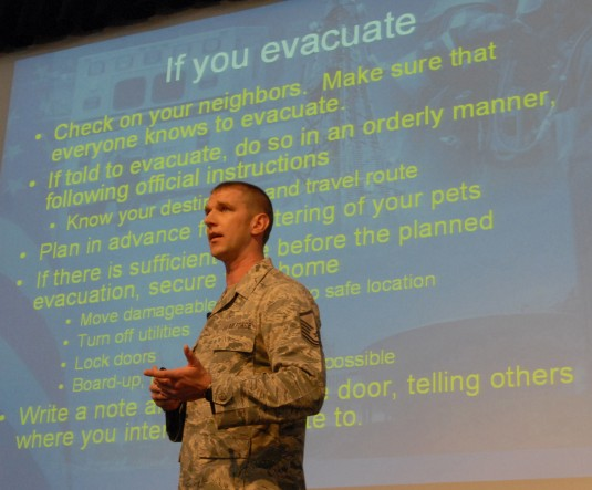 New York Air National Guard Master Sgt. Daniel Price teaches a disaster and emergency preparedness class during a session of New York Governor Andrew Cuomos Citizen Preparedness Corps Training Program at the State University of New York at Albany here on