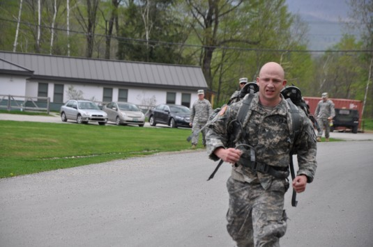 New York Army National Guard Staff Sgt. Jeff Dorvee--pictured here during the road march competition-- an Active Guard and Reserve member of the 1427th Medium Truck Company, won in the NCO category of the Northeast Regional Army National Guard Best Warrio