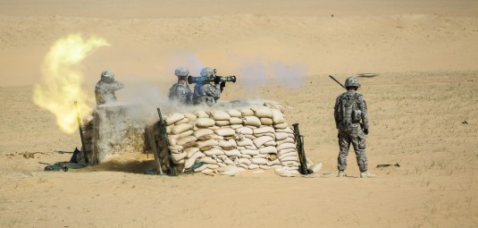 New York Army National Guard Soldiers from the 642nd Aviation Support Battalion (ASB) 42nd Combat Aviation Brigade conduct a live fire of the AT-4 anti-tank weapon on May 19th 2014 near Camp Buehring Kuwait.The 642nd ASB New York Army National Guard is cu