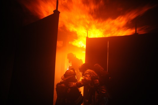 Members of the New York Air National Guard's 106th Rescue Wings Fire Department  hone their firefighting skills at the Suffolk County Fire Academy in Yaphank N.Y. with live fire training exercises May 9th 2014.