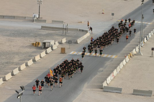 The Soldiers of the New York Army National Guard's 642nd Aviation Support Battalion conduct a battalion run on May 24, 2014. The unit has been deployed in Kuwait as part of the 42nd Combat Aviation Brigade since December and is expected home at the en