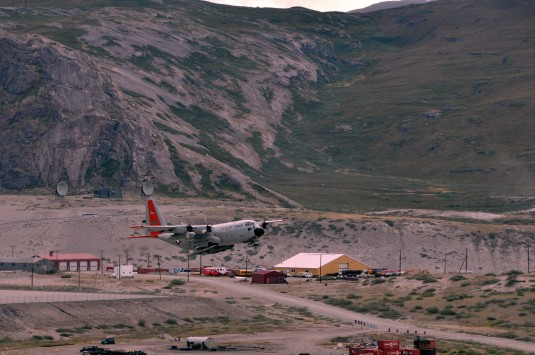 "An LC-130 ""Skibird"" with the 109th Airlift Wing from Stratton Air National Guard Base, Scotia, N.Y., takes off from Kangerlussuaq, Greenland, on June 29, 2014, for Summit Camp. Two LC-130s and 70 Airmen from the Wing recently completed the fourth rotation"