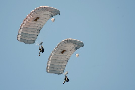 New York Air National Guard Airmen from the 103rd Rescue Squadron of the 106th Rescue Wing, conduct a training jump on July 30th 2014.