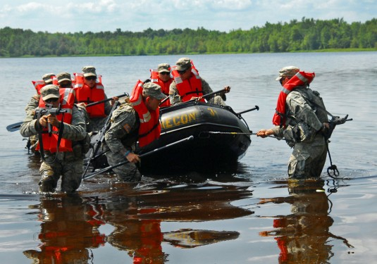 More than 80 New York Army National Guard Soldiers from C Troop, 2nd Squadron, 101st Cavalry descended onto Indian Lake on the back side of Fort Drum on Aug. 10-11 to conduct their first Zodiac boat training after a long period of preparation.