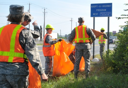 New York Air National Guard Airmen with the 109th Airlift Wing participated in the Adopt-A-Highway program in Schenectady New York on Aug. 10 2014. The First Six Council planned the event to clean up the Wings neighboring community and will be out four ti