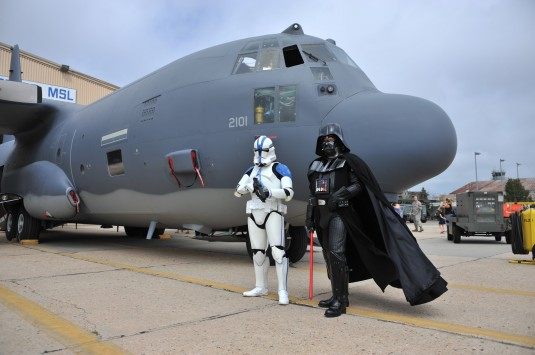 New York Air National Guard Staff Sgt James Bavaro(left)  an airmen with the 106th Rescue Wing dressed as a Star Wars Clone Air Air National Guard Base here. The event featured guest speakers games and prizes for members children and an appearance by memb