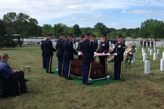 World War II veteran Pfc. Bernard Gavrin, a former member of the New York Army National Guard's 105th Infantry Regiment, is laid to rest with full military honors