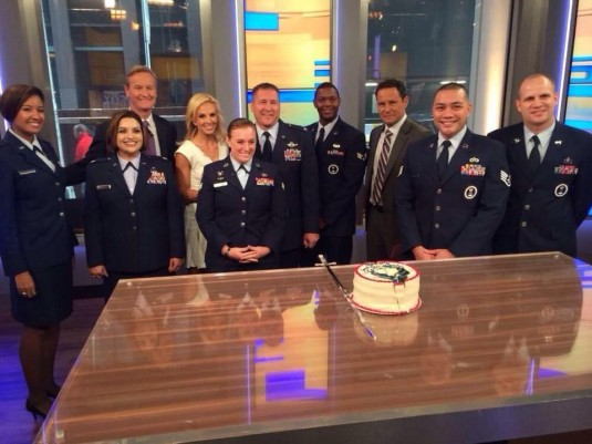 United States Air Force members, including New York Air National Guard members Senior Airman Amanda Martino and Lt. Col.Col. Bruce Theriault (center) both of the 105th Airlift Wing at Stewart Air National Guard Base in Newburgh, appeared on the Fox and Fr