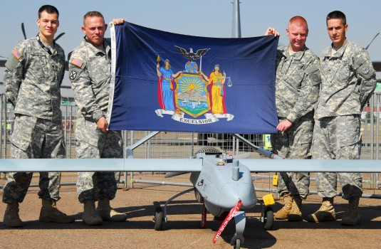 Four soldiers from the New York Army National Guard (NYARNG) got a chance to display their RQ-7B Shadow at the African Aerospace & Defense Expo held here from Sep. 17-21. Spc. Joseph Zuwiyya Staff Sgt. Glenn Follett Sgt. Timothy Strong and Sgt. Matthew La