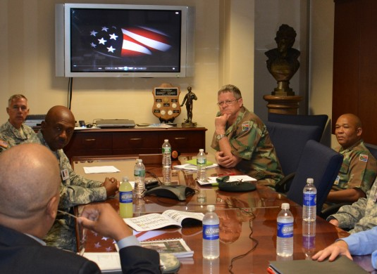 South African National Defense Force senior enlisted leaders joined New York National Guard Command Sgt. Major Louis Wilson (left) during a visit to Division of Military and Naval Affairs Headquarters on Saturday, Sept. 20