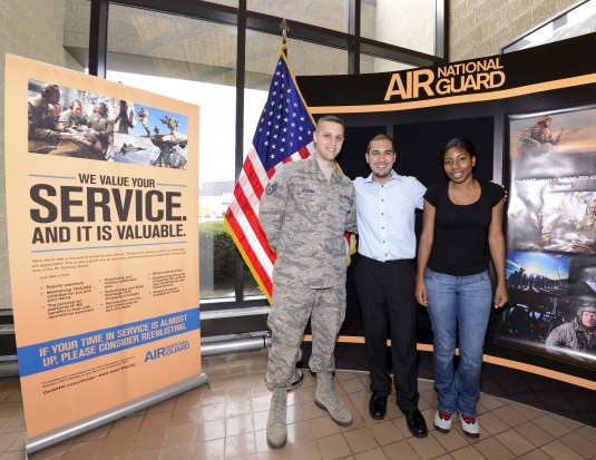 New York Air National Guard Staff Sgt. Paul Messina a recruiter for the 105th Airlift Wing New York Air National Guard with Jonathan Santiago and Octavia Cornwall the 194th and 195th enlistees this fiscal year starting their military career at Stewart Air