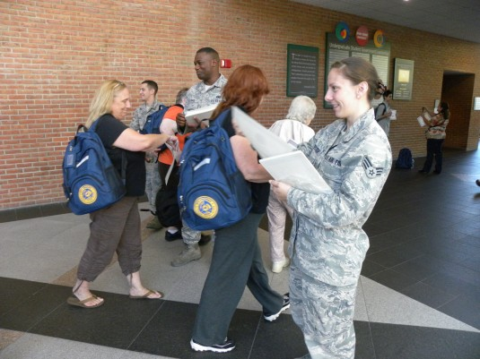 Members of the 106th Rescue Wing assists with the registration and distribution of disaster prepardness material . The September 20th one day course that was held at Stony Brook University.