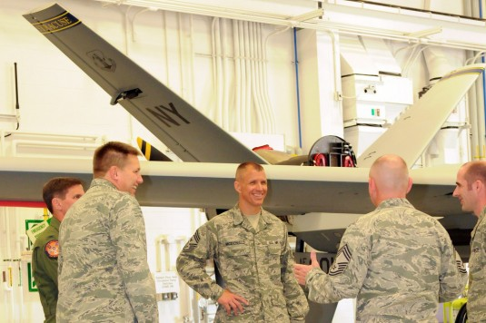 The 174th Attack Wing hosted the Command Chief of Air Combat Command from Oct. 6-8, 2014. Command Chief Master Sergeant Steve K. McDonald visited the diverse missions across the 174th and the New York Air National Guard.