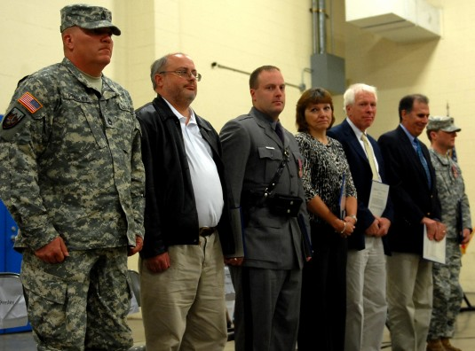 even Soldiers and Civilians were awarded the New York State Conspicuous Service Medal at 27th Infantry Brigade Combat Team headquarters here on Saturday, Oct. 17 to recognize the role they played in rescuing New York Army National Guard Capt. Timothy Neil