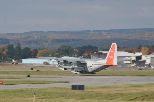 An LC-130 Hercules with the 109th Airlift Wing takes off from Stratton Air National Guard Base, Scotia, New York, on Oct. 17, 2014. The aircraft is headed to Antarctica for the Wing's 27th year participating in Operation Deep Freeze in support of the