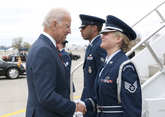 United States Vice President Joe Biden is greeted by New York Air National Guard 174th Attack Wing shortly after landing in Syracuse on Oct. 20, 2014. Staff Sgt. Allison Seguin is was apart of the 174th unit members who greeted the president. Staff Sgt. S