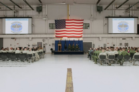 Members of the newly formed 108th Attack Squadron during a ceremony marking the Squadron's reactivation on Oct. 5, 2014 at Hancock Field Air National Guard Base. the 108th Attack Squadron will conduct the MQ-9 training activities-- instructing pilots,