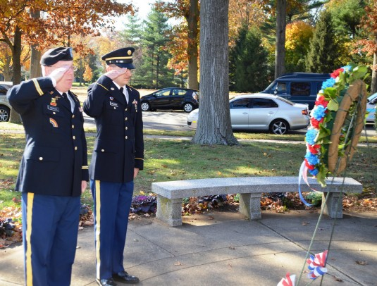 New York Army National Guard Lt. Col. Patrick Macklin and Staff Sgt.  Justin Wolcott from the 42nd Infantry Division presented a memorial wreath on behalf of the New York Army National Guard's 42nd Infantry Division on Monday morning, Nov. 10 at the W