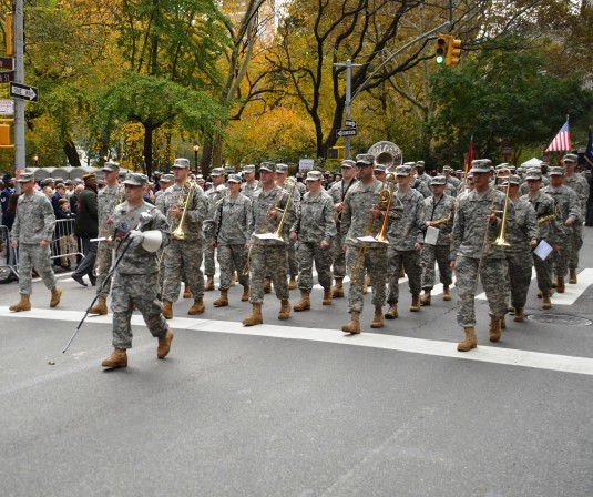 The New York Army National Guard's 42nd Infantry Division Band steps off during the New York City Veterans Day Parade on Tuesday, Nov. 11. The band, along with the Army National Guard's 719th Transportation Company and members of the New York Guar
