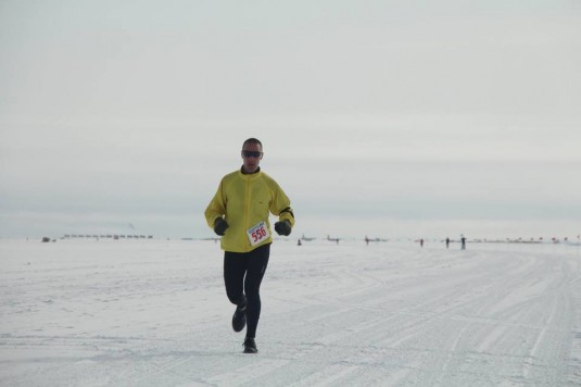 New York Air National Guard Tech. Sgt. Jonathan Peck, a member of the 109th Airlift Wing, runs the annual McMurdo Marathon in Antarctica on Jan. 11, 2015