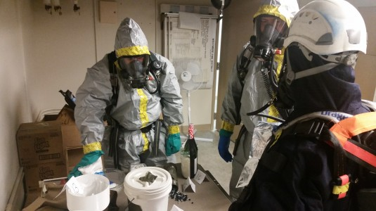 Members of the New York State Police Contaminated Crime Scene Emergency Response Team train in a mock drill with members of the New York National Guard's 2nd Civil Support Team from Stratton Air National Guard Base in Scotia, NY. The teams worked tog