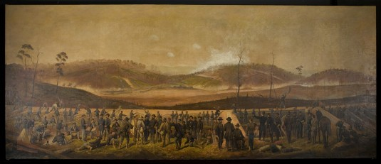 "This painting by 19th century military artist James Walker, depicting the May 13-14, 1864 Battle of Resaca, in Georgia, was ""lost"" following the demolition of a New York National Guard armory in New York City in 1959. The painting, stored at Wes"