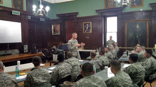 Major General Patrick Murphy, the Adjutant General of New York, speaks to New York Army National Guard Non-Commissioned Officers interested in becoming Warrant Officers Saturday, Feb. 7, at the Lexington Avenue Amory in New York.