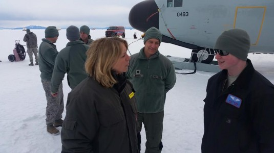 Secretary of the Air Force, Deborah Lee James, greets 109th Airlift Wing members Airman 1st Class  Wyatt Peters and Lt. Col. Kurt Bedore in Antarctica on 25 January, 2015.