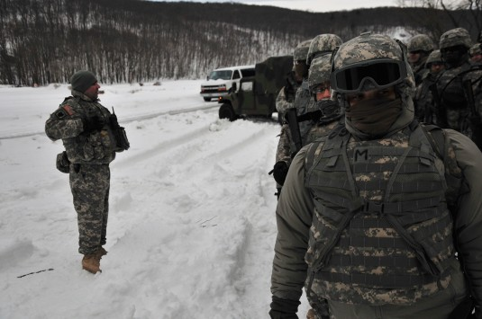 Soldiers from the New York National Guard's 42nd Infantry Division conduct land navigation training at Camp Smith Training Site on Monday, Feb. 23.