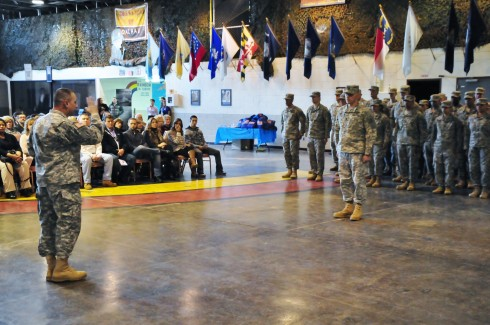 Major General Harry Miller, the commander of the New York Army National Guard's 42nd Infantry Division speaks to division Soldiers heading for Fort Bliss, Texas and then the Guantanamo Bay Naval Base on Sunday, March 22 at 42nd Division headquarters