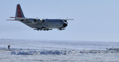A ski-equipped LC-130 Hercules assigned to the New York Air National Guard's 109th Airlift Wing lands at Cambridge Bay Airport, Nunavut to drop off cargo during Operation NUNALIVUT 2015, on April 14, 2015. Two LC-130s from the 109th and their crews a