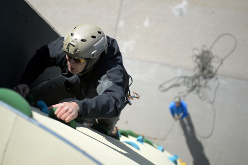 A New York Air National Guard Pararescue Jumper with the 103rd Rescue Squadron of the 106th Rescue Wing trains on the climbing wall at F.S. Gabreski Air National Guard Base here  on April 30 2015.The climbing wall allows airmen to train for multiple scena