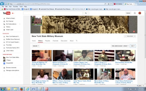 Video interviews with more than 600 New York Veterans of World War I World War II Korea Vietnam Iraq Afghanistan and the Cold War can now be viewed online by going to the New York State Military Museum YouTube Channel. The museum which is run by the New Y