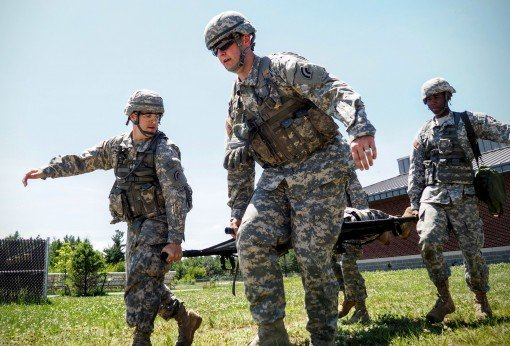 Soldiers of the 42nd Infantry Division rehearse a casualty drill here on June, 18, 2015. Soldiers of the division are conducting annual training at Fort Drum.