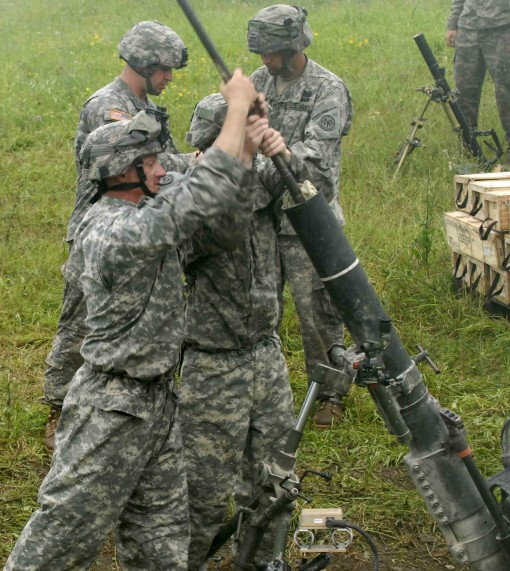 FORT DRUM--New York Army National Guard Indirect-fire Infantrymen with the 2nd Squadron 101st Cavalry perform range operations with an M120 mortar during an Exportable Combat Training Capability (XCTC) exercise at Fort Drum, N.Y., on July 15. The M120 is