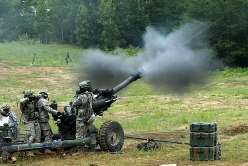 New York Army National Guard cannon crewmembers from Battery A, 1st Battalion, 258th Artillery Regiment based out of New Windsor, New York, fires an M119 howitzer July 17. The unit, part of the 27th IBCT is at Fort Drum conducting gunnery training in prep